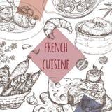 Plantilla francesa de la cocina Incluye la sopa de la cebolla, pollo, queso, salchichas, caracoles stock de ilustración