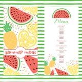 Plantilla fresca del menú del verano con las frutas tropicales del color Fotos de archivo libres de regalías