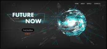plantilla futurista de la página web de la tecnología 3D ilustración del vector