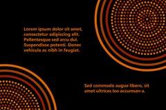 Plantilla geométrica aborigen australiana de la bandera de los círculos concéntricos del arte en marrón y negro anaranjados, vect ilustración del vector