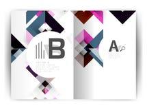 Plantilla geométrica de la impresión de la cubierta del informe anual a4 Imagenes de archivo