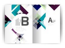 Plantilla geométrica de la impresión de la cubierta del informe anual a4 Foto de archivo libre de regalías