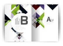 Plantilla geométrica de la impresión de la cubierta del informe anual a4 Fotos de archivo