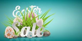 Plantilla grande del fondo de la bandera de la venta de Pascua con oferta enorme del descuento, la hierba verde, las piedras y lo