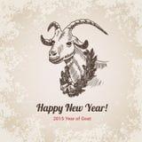 Plantilla handdrawn china 2015 del estilo del grabado del Año Nuevo de la cabra
