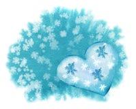 Plantilla handdrawn de la tarjeta de la acuarela con el corazón azul en backgroun stock de ilustración
