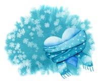 Plantilla handdrawn de la tarjeta de la acuarela con el corazón azul en una bufanda encendido stock de ilustración