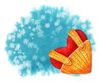 Plantilla handdrawn de la tarjeta de la acuarela con el corazón rojo en backgr azul stock de ilustración