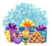 Plantilla handdrawn de la tarjeta de la acuarela con las cajas de regalo en backg azul ilustración del vector