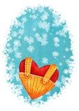 Plantilla handdrawn de la tarjeta de la acuarela vertical con el corazón rojo en el bl ilustración del vector