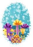 Plantilla handdrawn de la tarjeta de la acuarela vertical con las cajas de regalo en b stock de ilustración