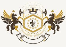 Plantilla heráldica de lujo del emblema del vector compuesta con wea antiguo ilustración del vector
