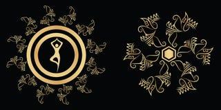 Plantilla hermosa del diseño del metal del oro del vector stock de ilustración