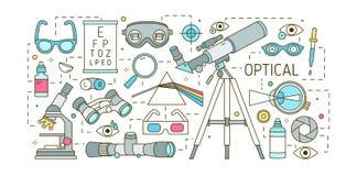Plantilla horizontal creativa con los diversos dispositivos ópticos, prisma dispersiva, vidrios, ojo humano, lentes ópticas de la ilustración del vector