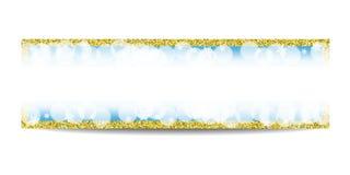 Plantilla horizontal de la bandera del invierno con el marco y los copos de nieve de oro Foto de archivo