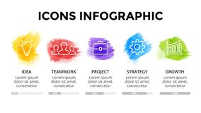 Plantilla infographic de la acuarela del movimiento del cepillo Diapositiva de la presentaci?n Concepto creativo del arte con 5 o foto de archivo