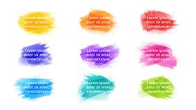 Plantilla infographic de la acuarela del movimiento del cepillo Diapositiva de la presentaci?n Concepto creativo del arte con 9 o fotografía de archivo