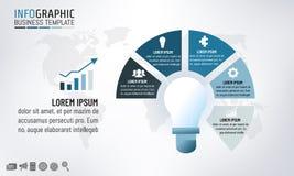 Plantilla infographic de la bombilla para los conceptos de la idea del negocio con 5 pasos Ilustración del vector ilustración del vector