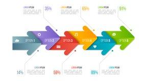 Plantilla infographic de la carta de la cronología con las flechas 6 opciones ilustración del vector