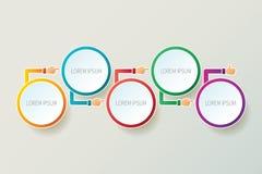 Plantilla infographic de la cronología abstracta del vector en el estilo 3D para el esquema del flujo de trabajo de la disposició Fotografía de archivo libre de regalías