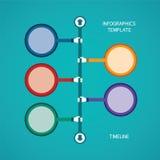 Plantilla infographic de la cronología abstracta del vector en el estilo plano para el esquema del flujo de trabajo de la disposi ilustración del vector