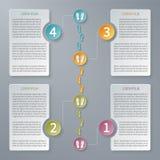 Plantilla infographic de la cronología del vector de cuatro pasos stock de ilustración