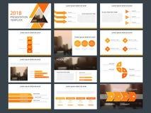Plantilla infographic de la presentación de los elementos del paquete anaranjado del triángulo informe anual del negocio, folleto stock de ilustración