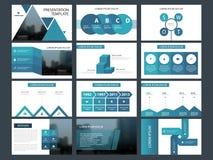 Plantilla infographic de la presentación de los elementos del paquete azul del triángulo informe anual del negocio, folleto, pros