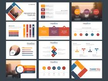 Plantilla infographic de la presentación de los elementos del paquete colorido informe anual del negocio, folleto, prospecto, avi ilustración del vector
