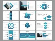 Plantilla infographic de la presentación de los elementos del paquete cuadrado azul informe anual del negocio, folleto, prospecto stock de ilustración