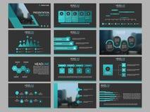 Plantilla infographic de la presentación de los elementos del paquete verde del triángulo informe anual del negocio, folleto, pro stock de ilustración