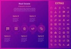 Plantilla infographic de las propiedades inmobiliarias, elementos, iconos Fotografía de archivo libre de regalías