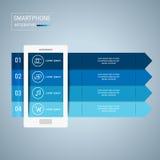 Plantilla infographic de los elementos del diseño del teléfono móvil Fotografía de archivo libre de regalías