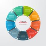 Plantilla infographic del círculo del gráfico de sectores con 9 opciones stock de ilustración