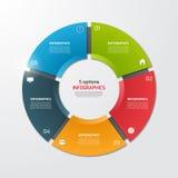 Plantilla infographic del círculo del gráfico de sectores con 5 opciones ilustración del vector