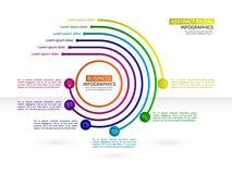 Plantilla infographic del círculo mínimo del estilo con seis pasos fino stock de ilustración