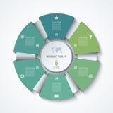 Plantilla infographic del círculo Rueda de proceso Gráfico de sectores del vector Foto de archivo libre de regalías