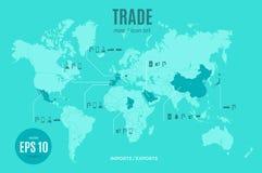 Plantilla infographic del comercio del vector Mapa de la importación y de la exportación del color para su ejemplo o presentación ilustración del vector