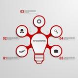 Plantilla infographic del concepto abstracto del negocio Idea de la bombilla Imagen de archivo libre de regalías