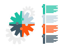 Plantilla infographic del diagrama del rompecabezas de la presentación redonda del engranaje con el campo explicativo numerado de Foto de archivo libre de regalías