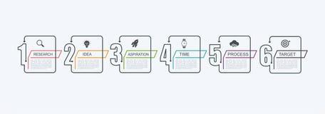 Plantilla infographic del diseño de la cronología con la estructura del paso El concepto del negocio con 6 opciones junta las pie stock de ilustración