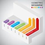 Plantilla infographic del diseño de la cronología isométrica Foto de archivo