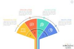 Plantilla infographic del diseño de Minimalistic Avive la carta con 4 elementos, pictogramas y cuadros de texto coloridos stock de ilustración