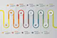 Plantilla infographic del diseño del vector de 10 pasos de la cronología Puede ser utilizado para los procesos del flujo de traba libre illustration