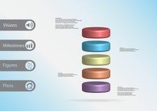 plantilla infographic del ejemplo 3D con el cilindro dividido horizontalmente a cinco rebanadas del color Foto de archivo
