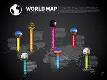 Plantilla infographic del mapa del mundo simple con las marcas del indicador, v oscuro Fotos de archivo