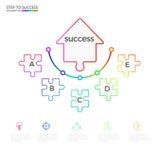 Plantilla infographic del negocio del concepto del rompecabezas acertado de la flecha Infographics con los iconos y los elementos libre illustration