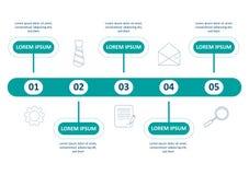 Plantilla infographic del negocio Diseño con números 5 opciones o pasos ilustración del vector