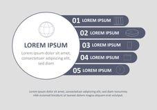 Plantilla infographic mínima del folleto Páginas con los elementos del diagrama, del gráfico y de la carta Concepto de la visuali stock de ilustración