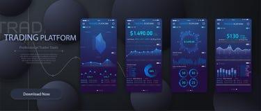 Plantilla infographic móvil del app con los gráficos semanales y anuales del diseño moderno de las estadísticas Gráficos circular libre illustration